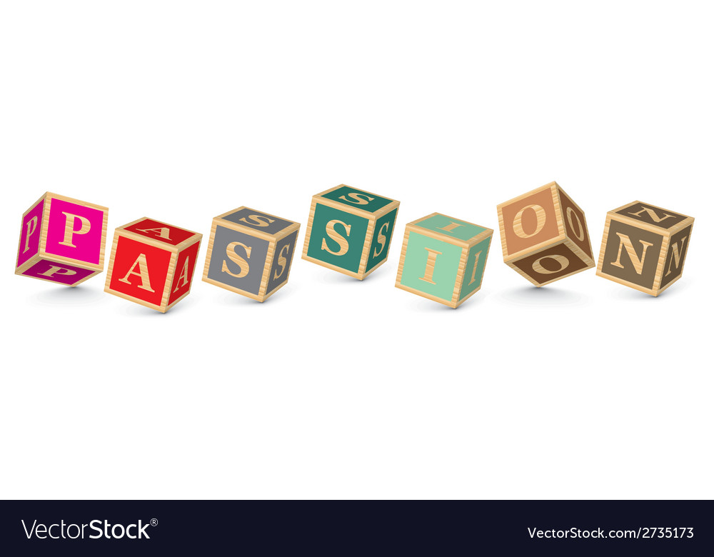 Word passion written with alphabet blocks vector | Price: 1 Credit (USD $1)
