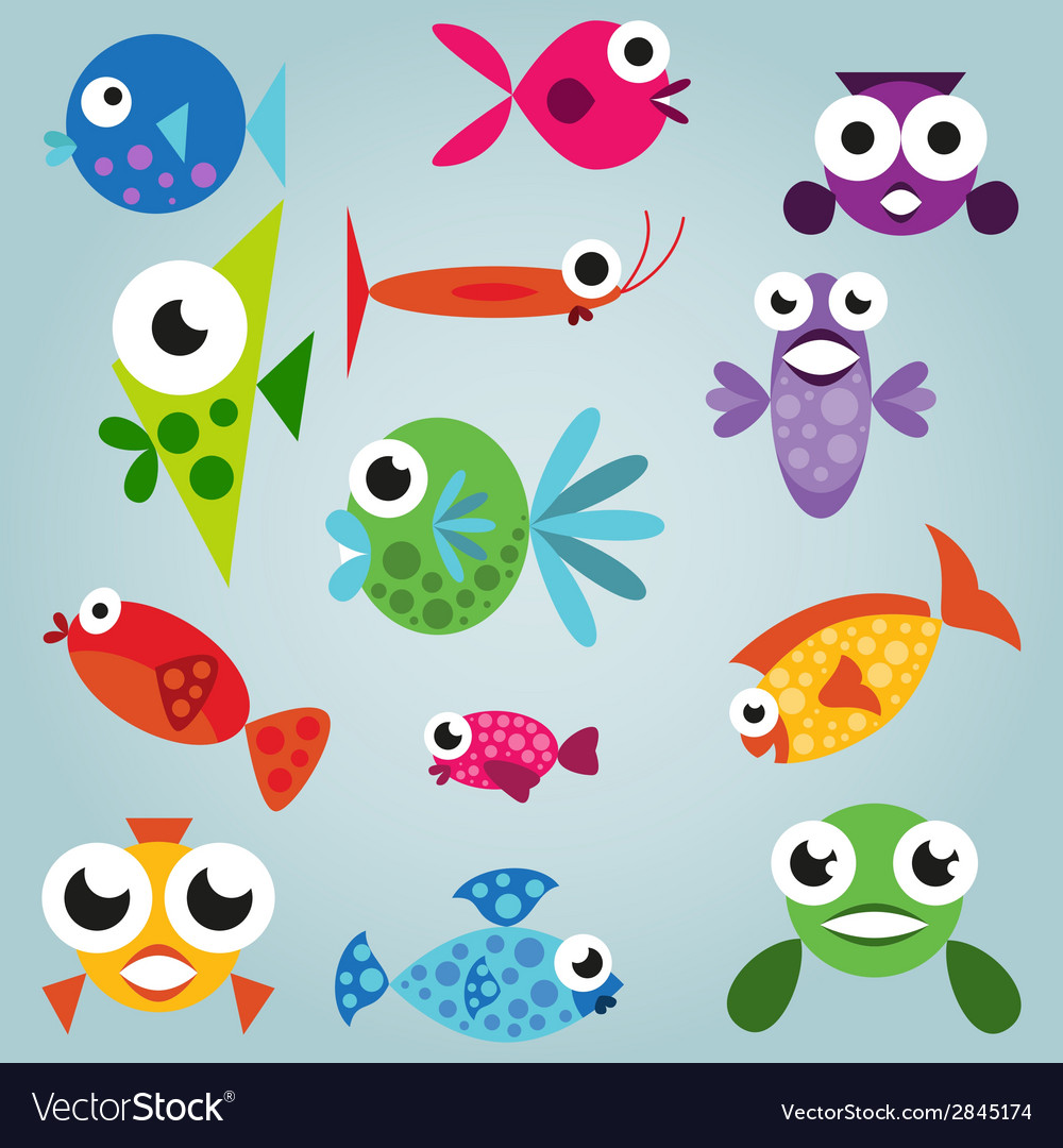 Cartoon sea fish set vector | Price: 1 Credit (USD $1)