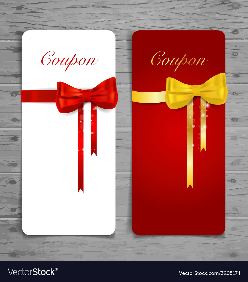 Gift coupon with gift bows and ribbons vector   Price: 1 Credit (USD $1)
