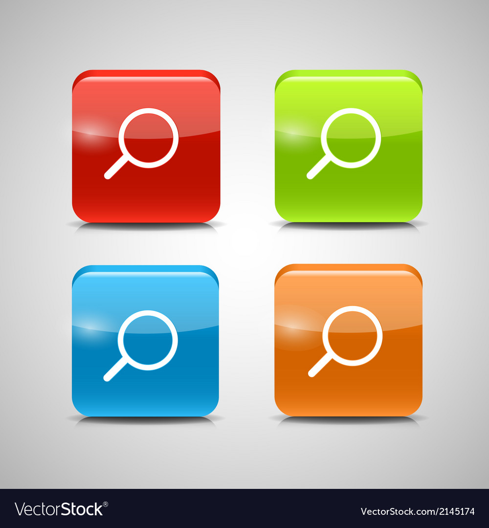 Glass search button icon set vector | Price: 1 Credit (USD $1)