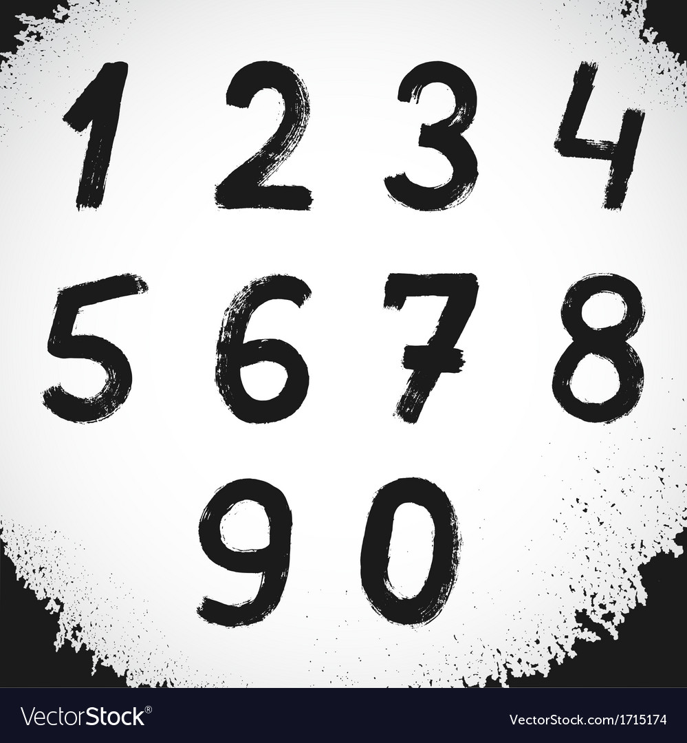 Grunge style font grunge numbers symbols vector | Price: 1 Credit (USD $1)