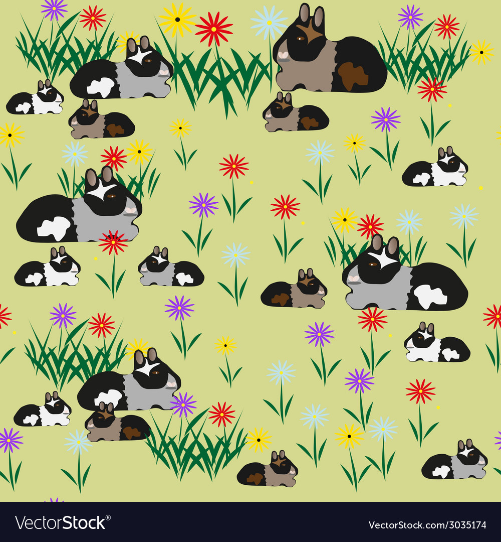 Pattern seamless of guinea pigs and colors vector | Price: 1 Credit (USD $1)