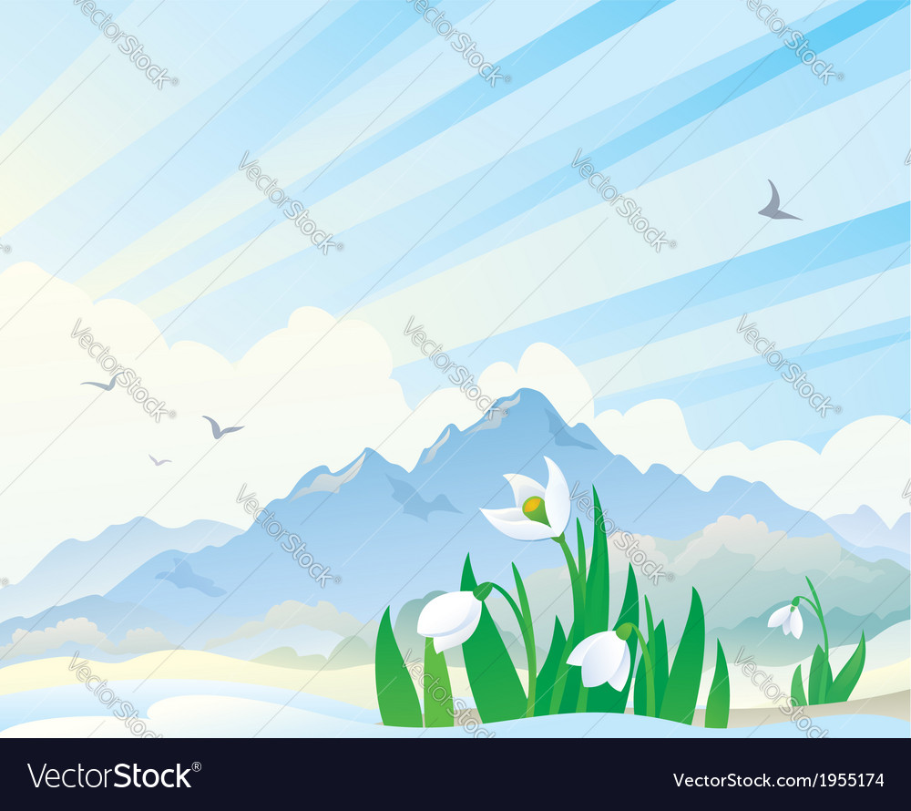 Spring landscape with snowdrops vector | Price: 1 Credit (USD $1)