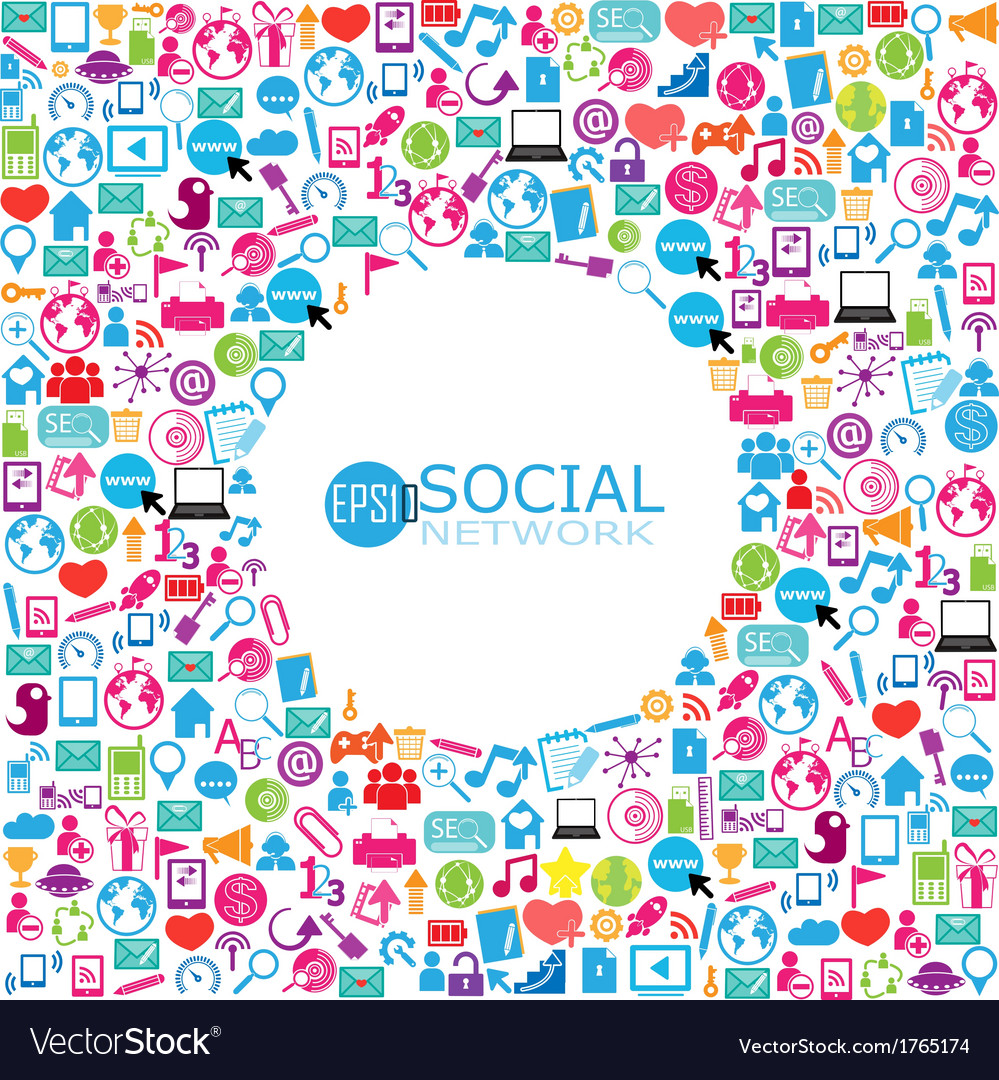 Template design with social network icons vector | Price: 1 Credit (USD $1)