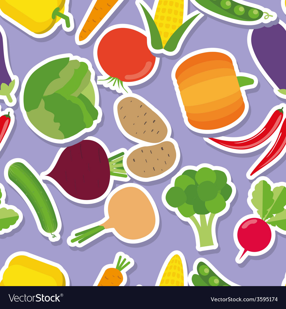 Vegetable seamless pattern the image of vegetables vector | Price: 1 Credit (USD $1)