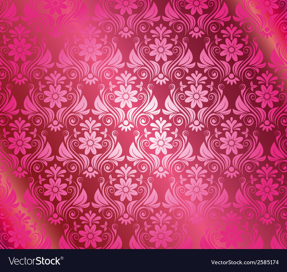 Vintage pink background with floral elements vector | Price: 1 Credit (USD $1)