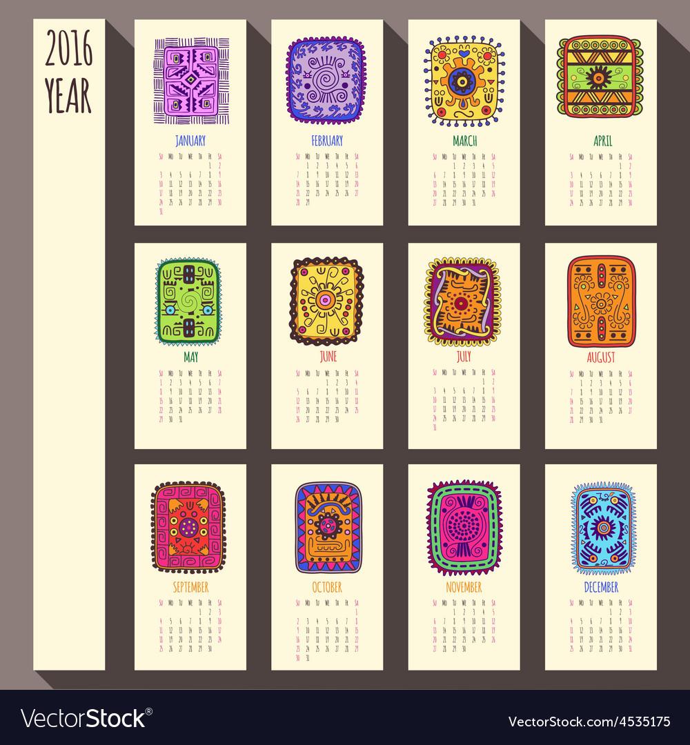 2016 year ethnic calendar design english sunday vector | Price: 1 Credit (USD $1)