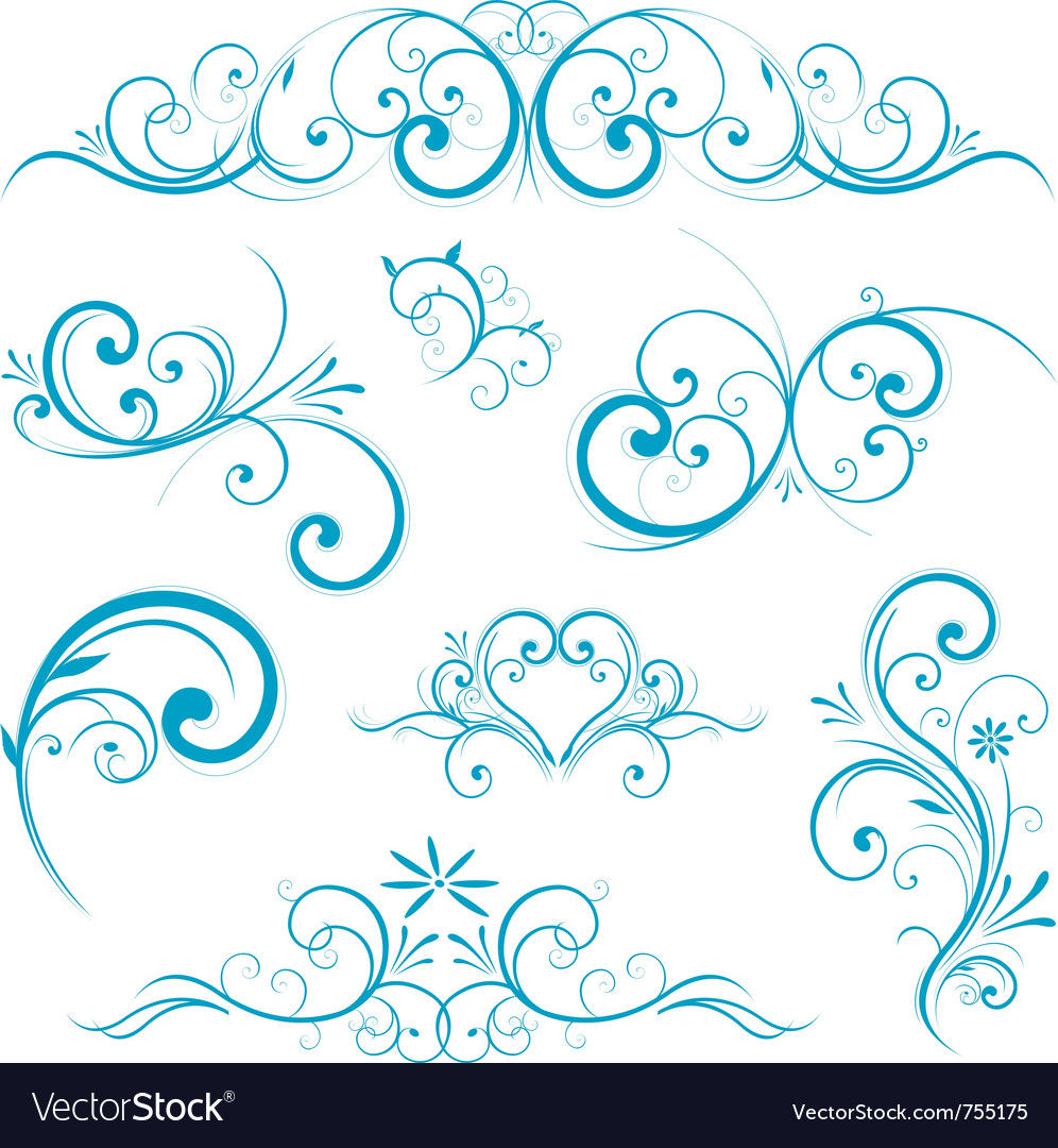 Blue swirling flourishes floral elements vector | Price: 1 Credit (USD $1)