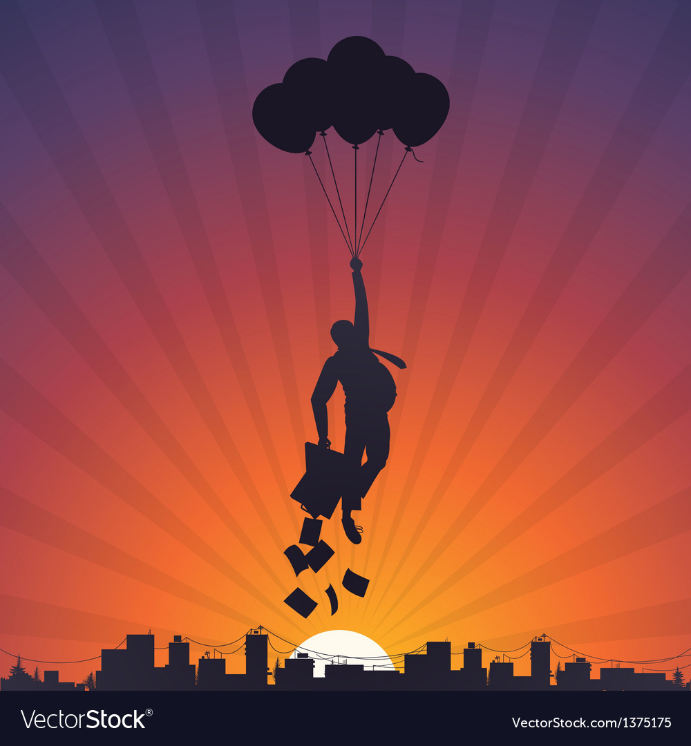 Business man flying on balloons to the sky vector | Price: 1 Credit (USD $1)