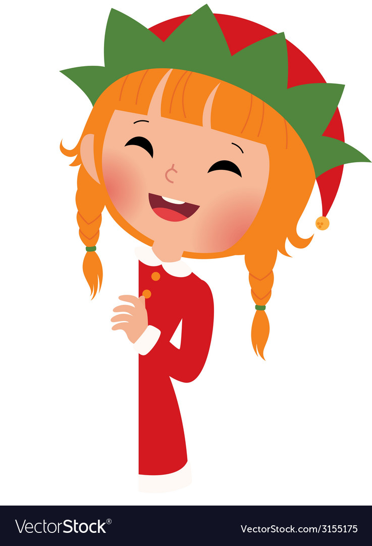 Christmas elf looking from behind the placard vector | Price: 1 Credit (USD $1)