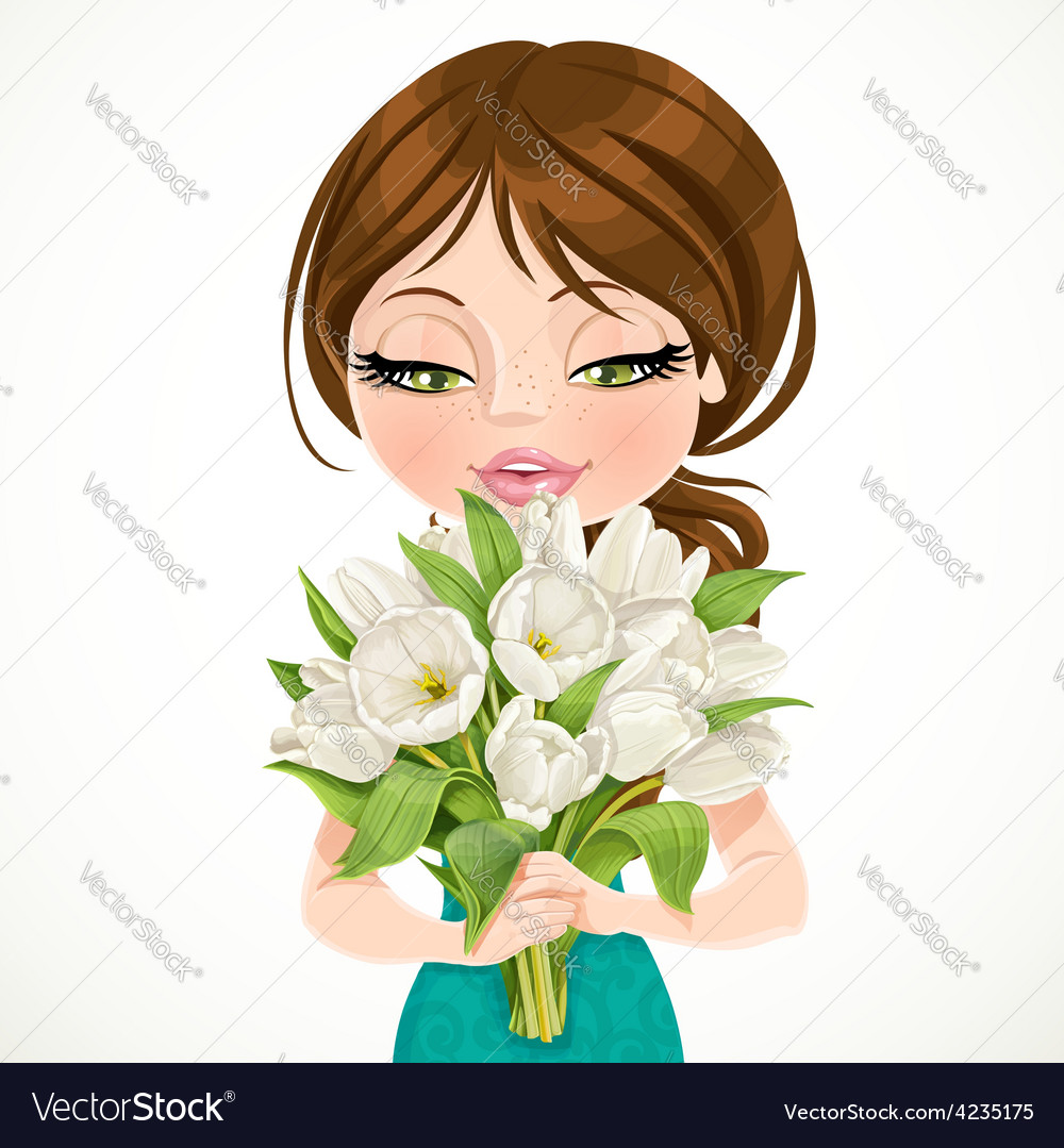 Cute brunette girl holding beautiful bouquet white vector | Price: 3 Credit (USD $3)
