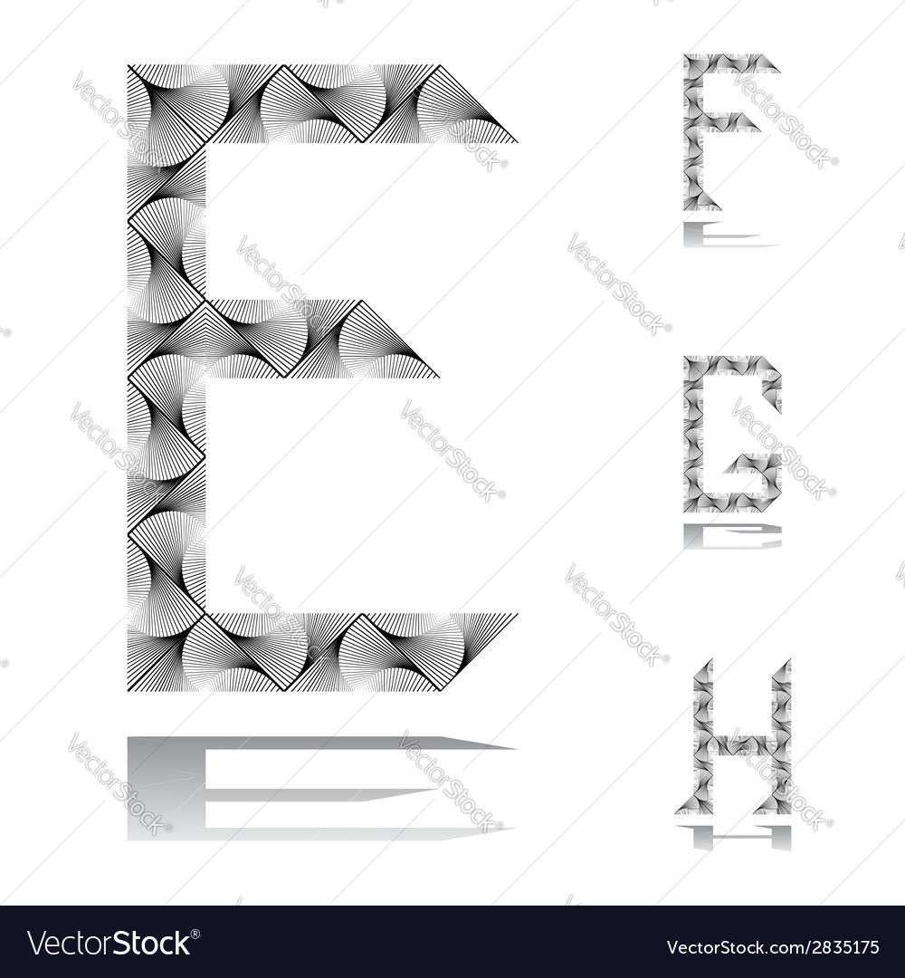 Design abc letters from e to h vector | Price: 1 Credit (USD $1)