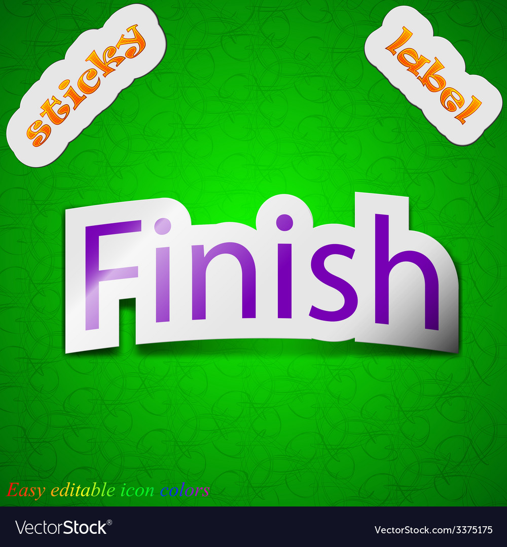 Finish icon sign symbol chic colored sticky label vector | Price: 1 Credit (USD $1)
