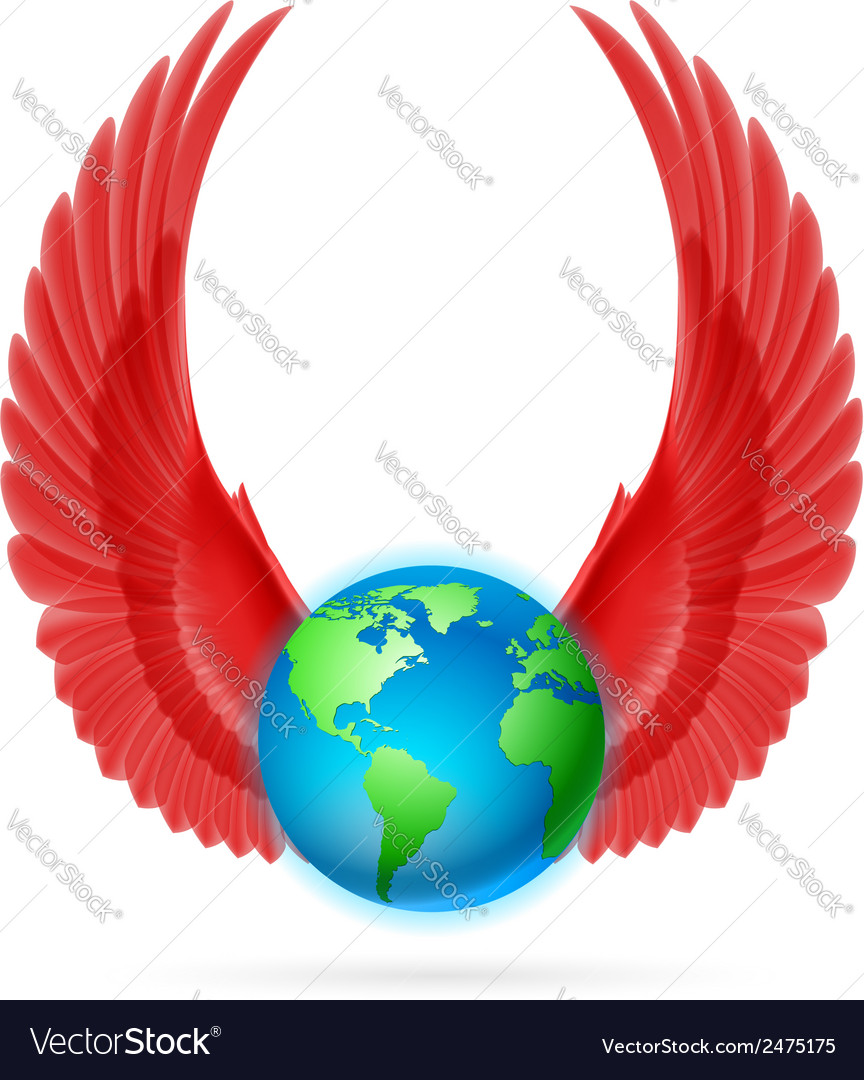Globe with red wings on white vector | Price: 1 Credit (USD $1)