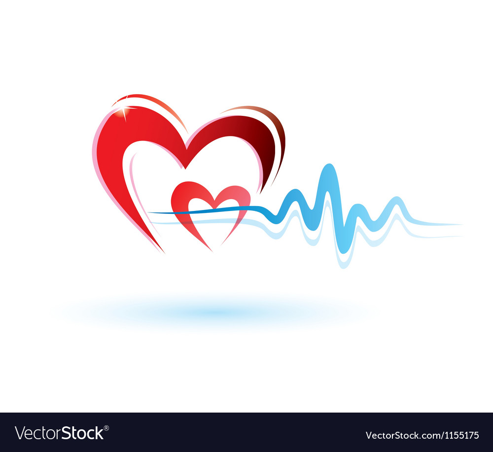 Heart and ecg white vector | Price: 1 Credit (USD $1)