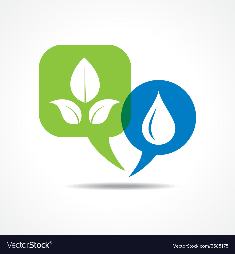 Leafs and waterdrop in message bubble vector | Price: 1 Credit (USD $1)