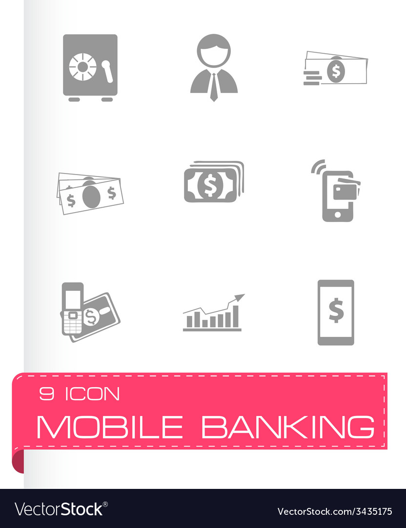 Mobile banking icons set vector   Price: 1 Credit (USD $1)