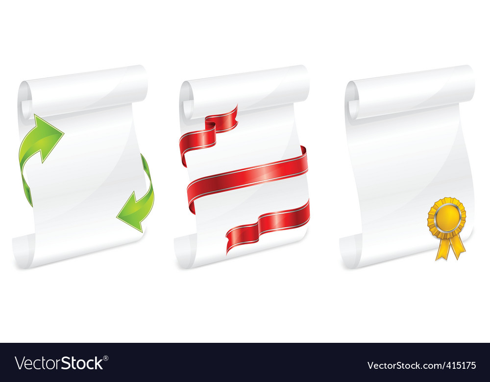 Scroll white paper with ribbon vector | Price: 1 Credit (USD $1)