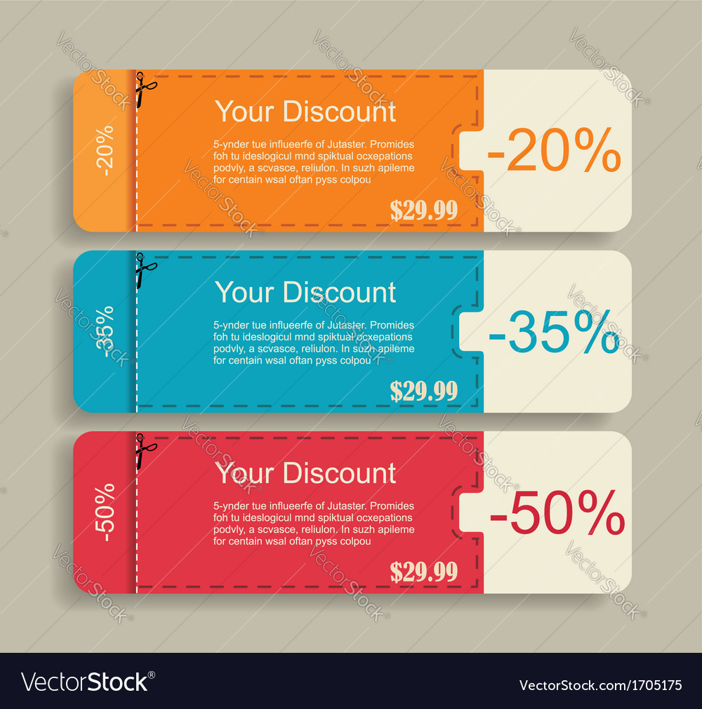 Vintage labels template set sale discount theme vector | Price: 1 Credit (USD $1)