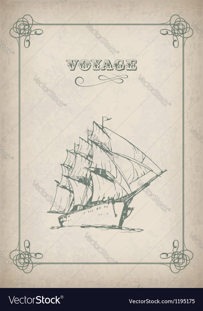 Vintage sailboat retro border drawing on old paper vector | Price: 1 Credit (USD $1)