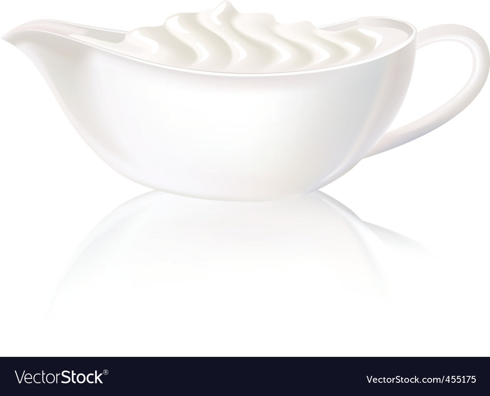 White sauceboat with sour cream vector | Price: 1 Credit (USD $1)