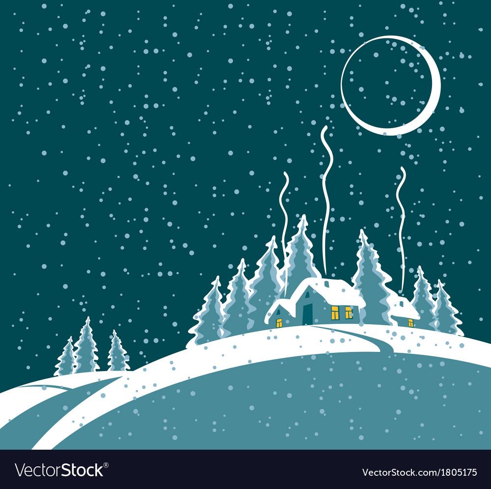 Winter night vector | Price: 1 Credit (USD $1)