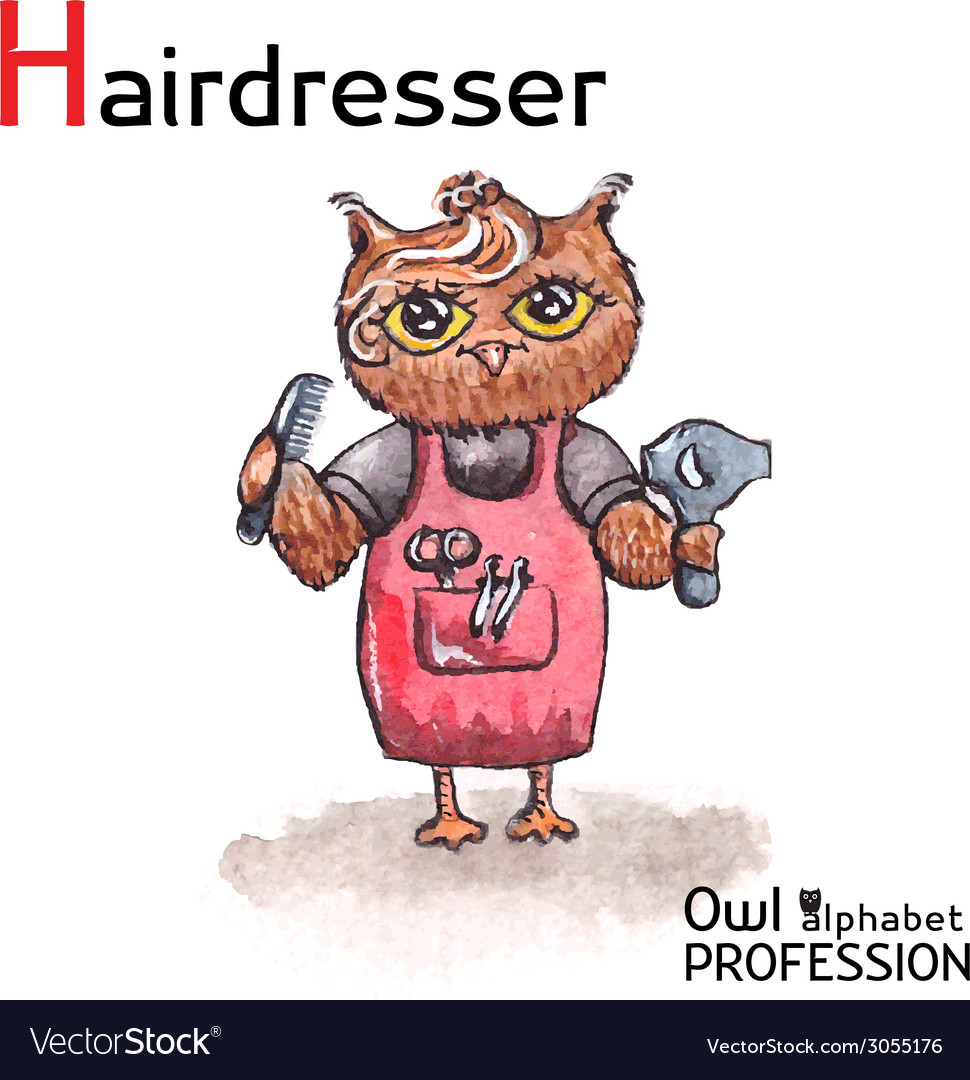 Alphabet professions owl letter h - hairdresser vector | Price: 1 Credit (USD $1)
