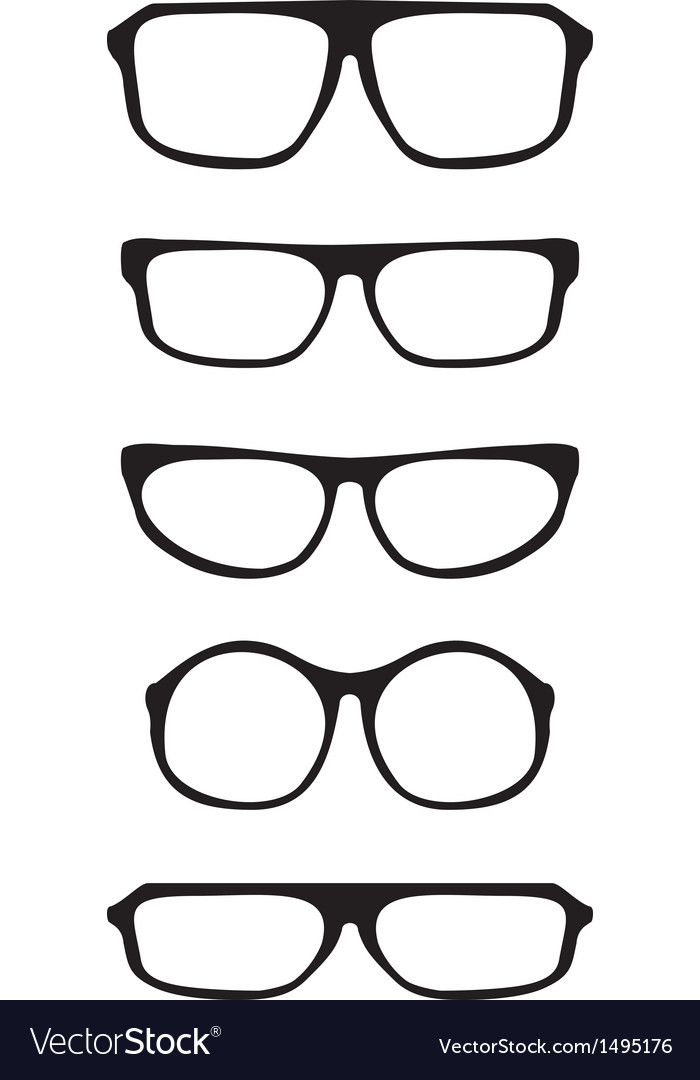 Black hipster glasses set with thick holder vector | Price: 1 Credit (USD $1)