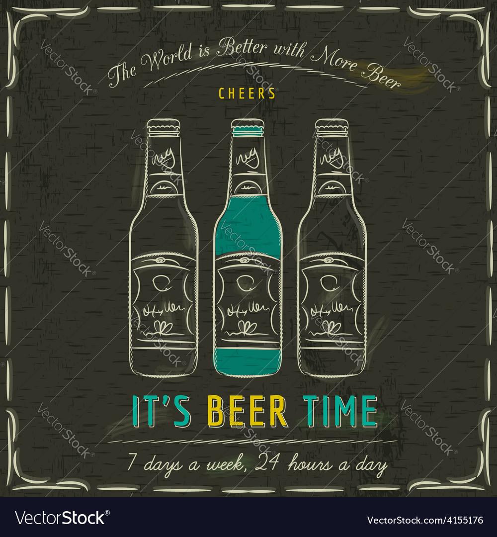Brown blackboard with three bottles of beer and te vector | Price: 1 Credit (USD $1)