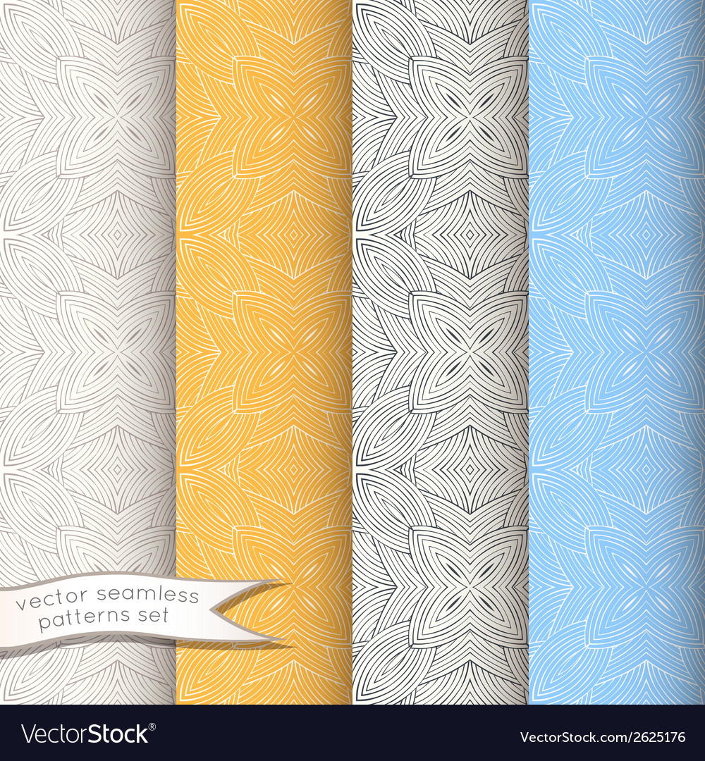 Decorative ornamental seamless patterns set vector | Price: 1 Credit (USD $1)