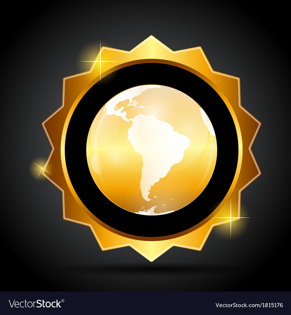 Golden label with globe map vector   Price: 1 Credit (USD $1)