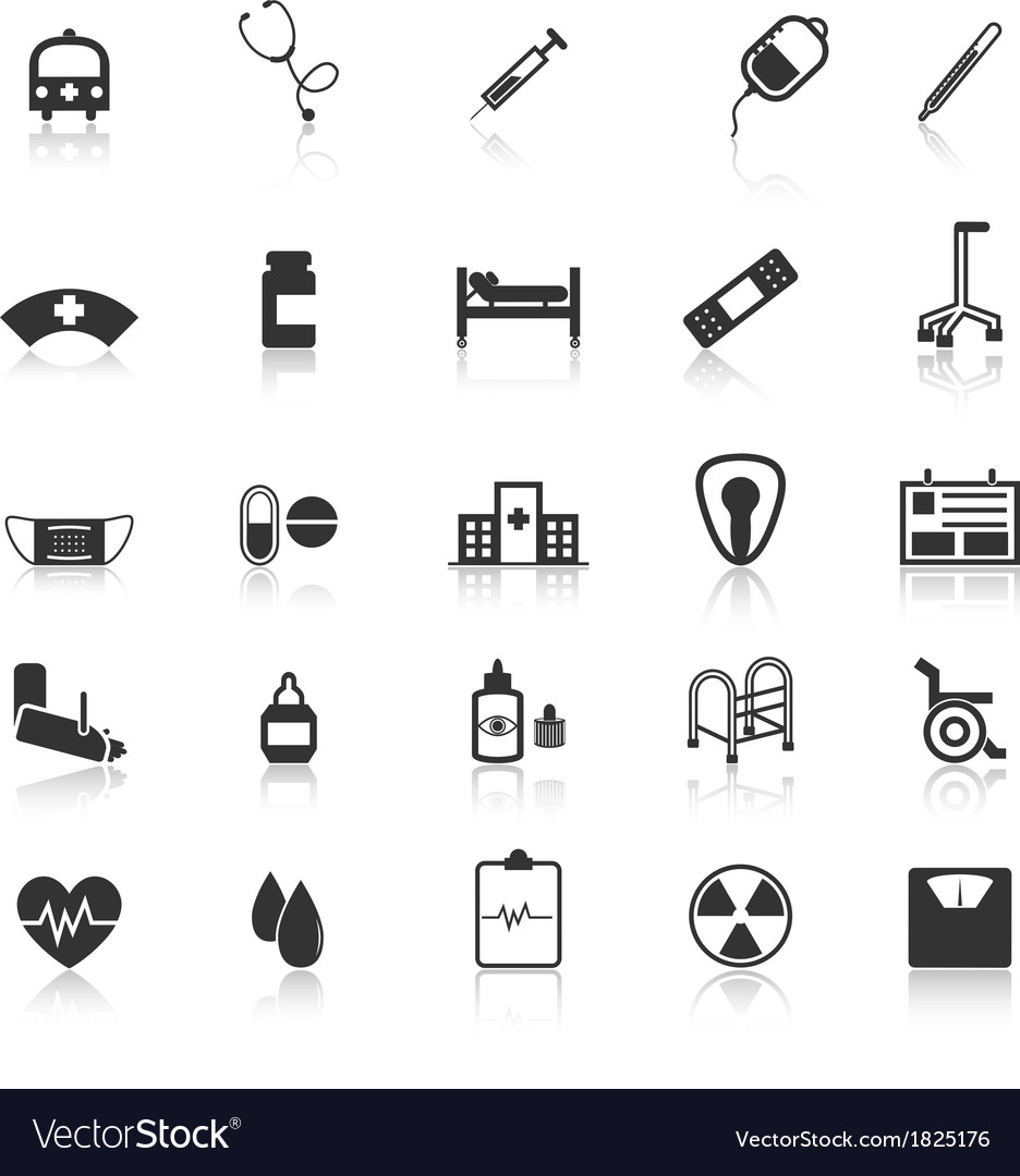 Hospital icons with reflect on white background vector | Price: 1 Credit (USD $1)
