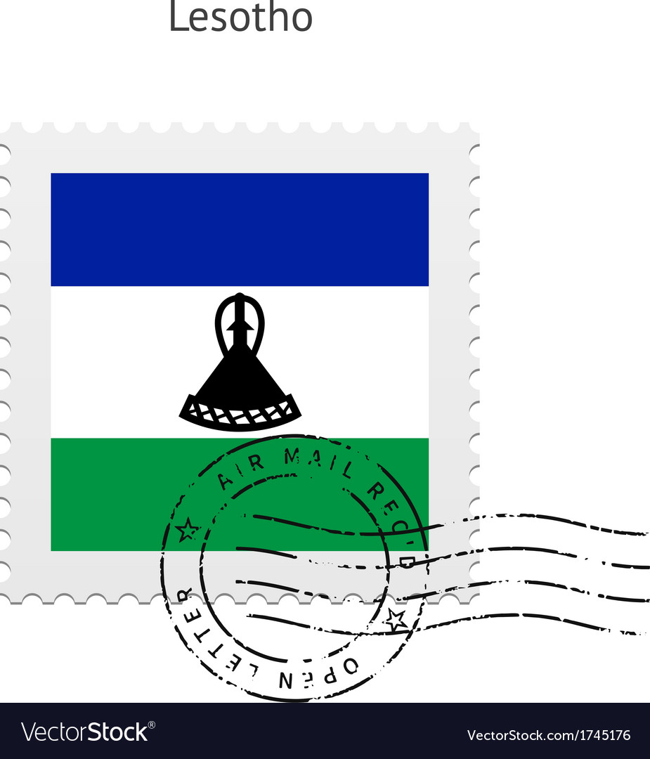 Lesotho flag postage stamp vector | Price: 1 Credit (USD $1)