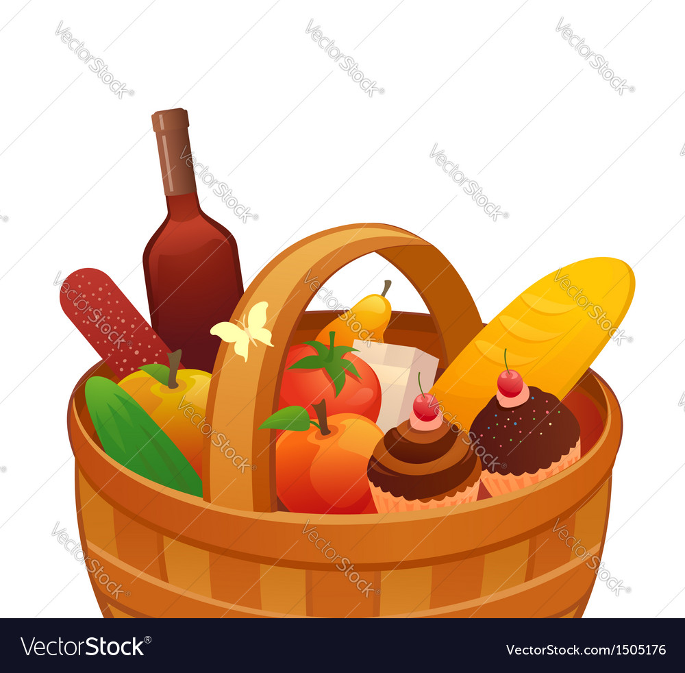 Picnic basket vector | Price: 1 Credit (USD $1)
