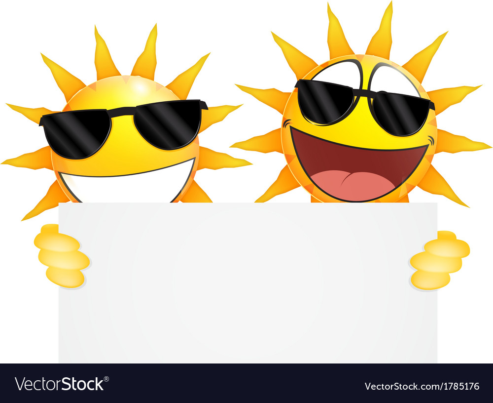 Smiling sun emoticon holding a blank sign vector | Price: 1 Credit (USD $1)