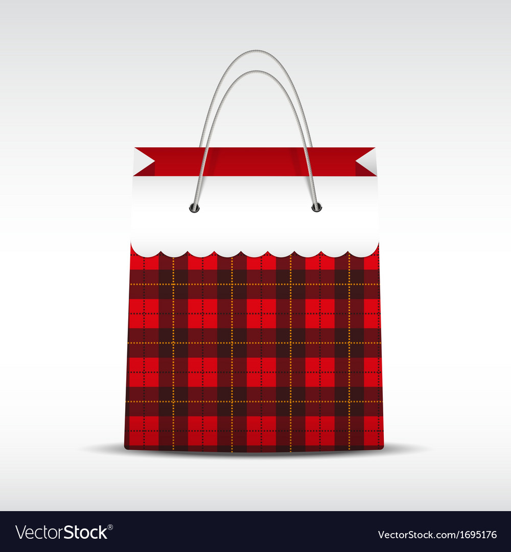 Vintage shopping bag in check texture vector | Price: 1 Credit (USD $1)