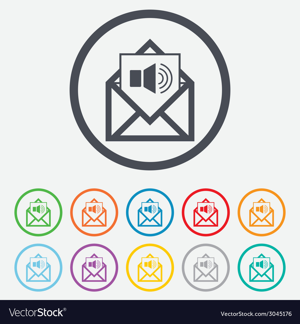 Voice mail icon speaker symbol audio message vector | Price: 1 Credit (USD $1)