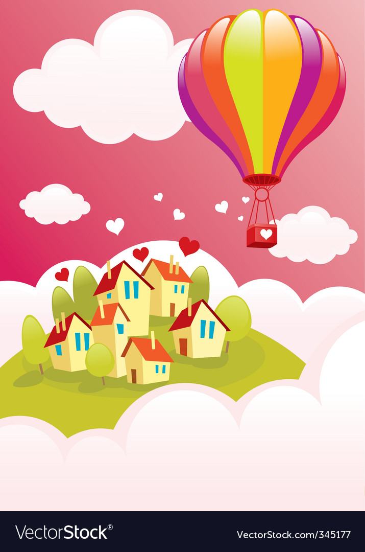 Air balloon over the city vector | Price: 1 Credit (USD $1)