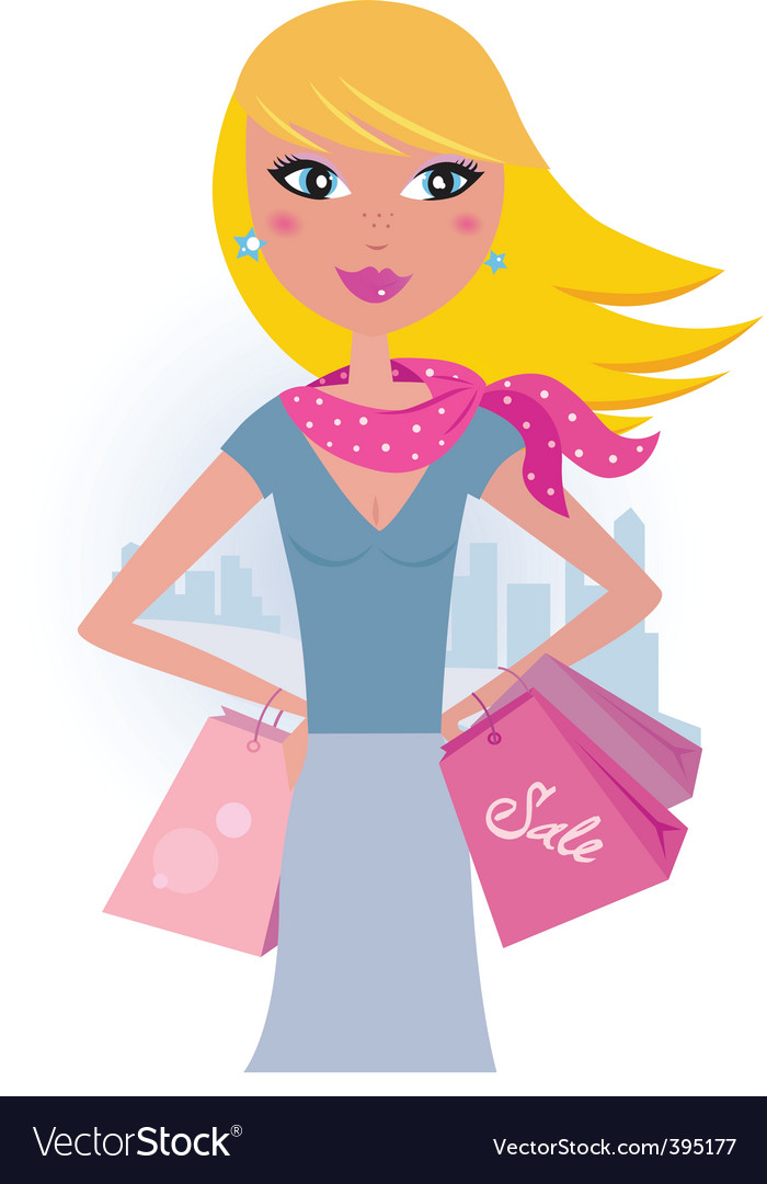 Blond shopper girl with bags vector | Price: 1 Credit (USD $1)