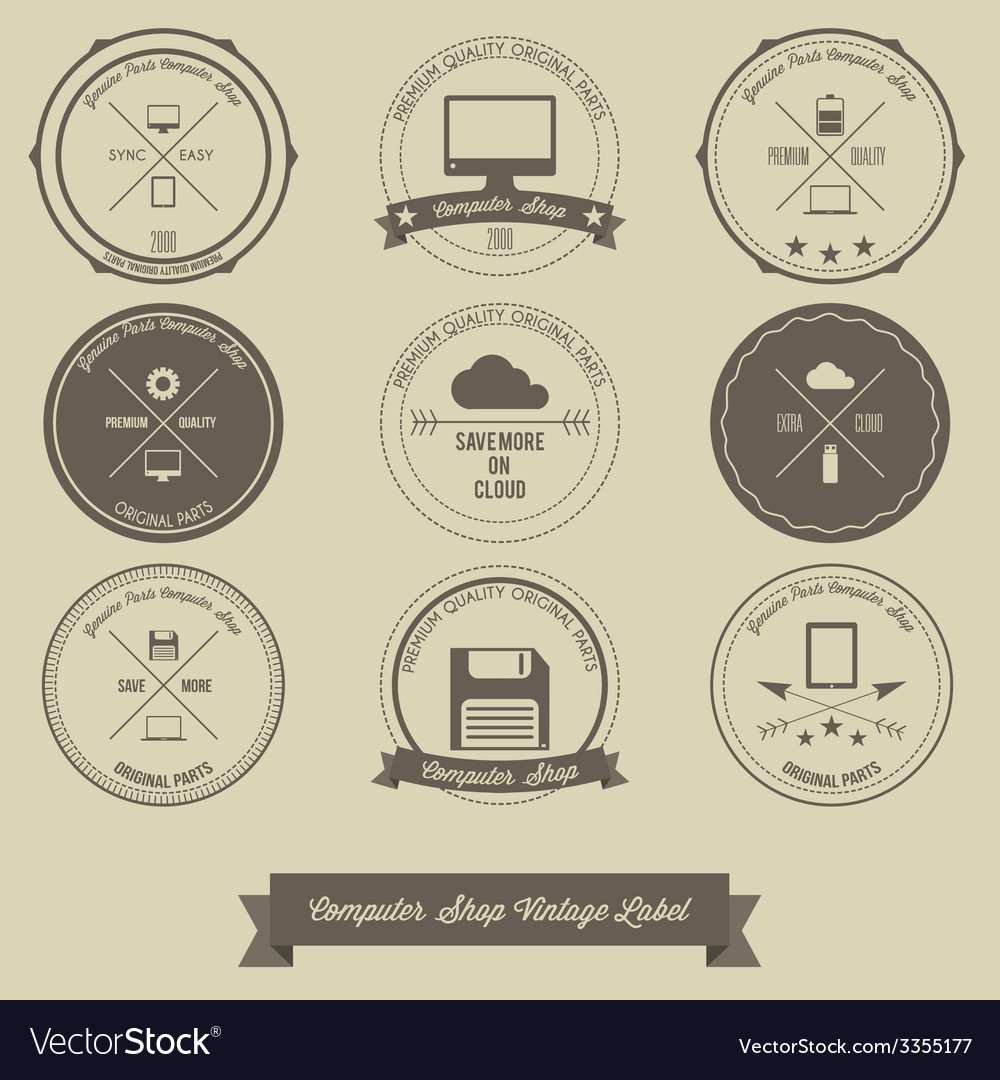 Computer shop vintage label vector | Price: 1 Credit (USD $1)