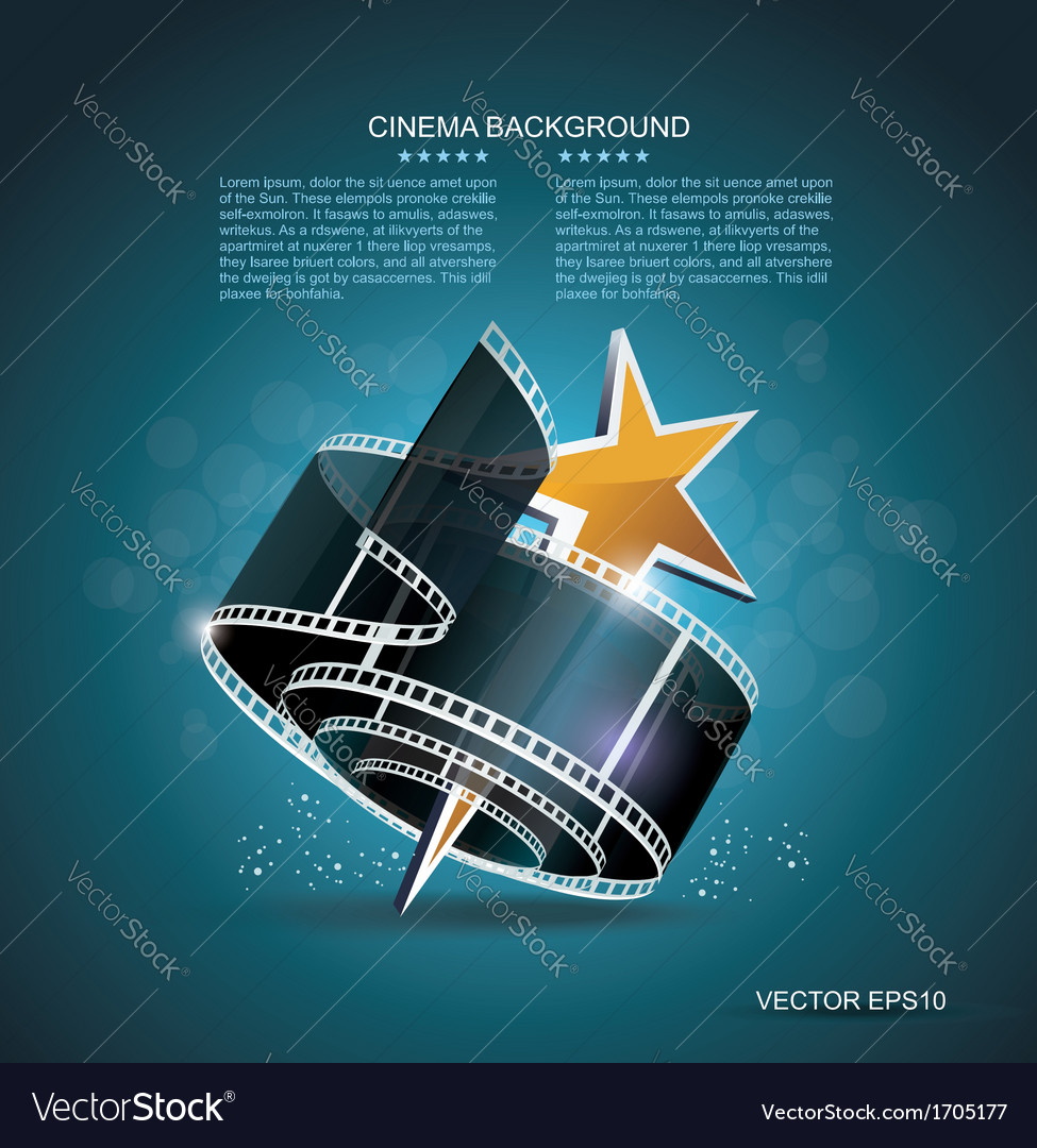 Film strip roll with gold star cinema background vector | Price: 1 Credit (USD $1)