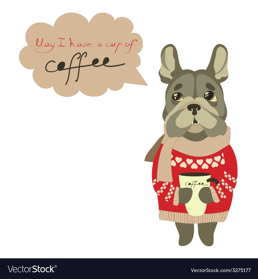 Sad little dog begging for cup of coffee vector | Price: 1 Credit (USD $1)