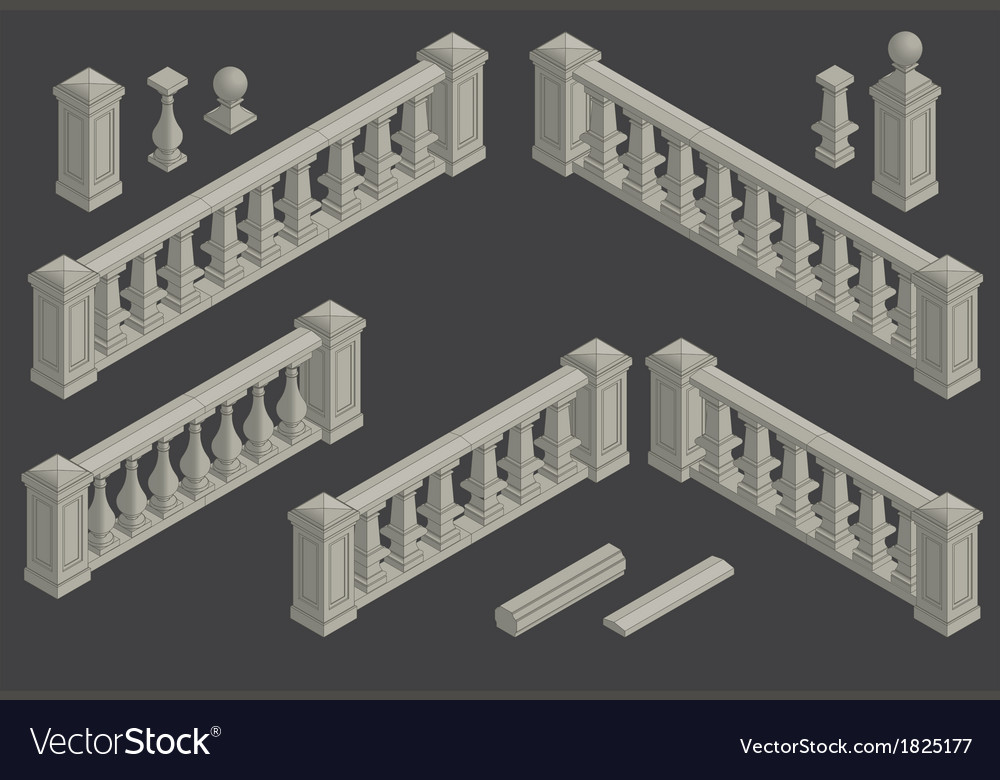 Set of architectural element balustrade vector | Price: 1 Credit (USD $1)