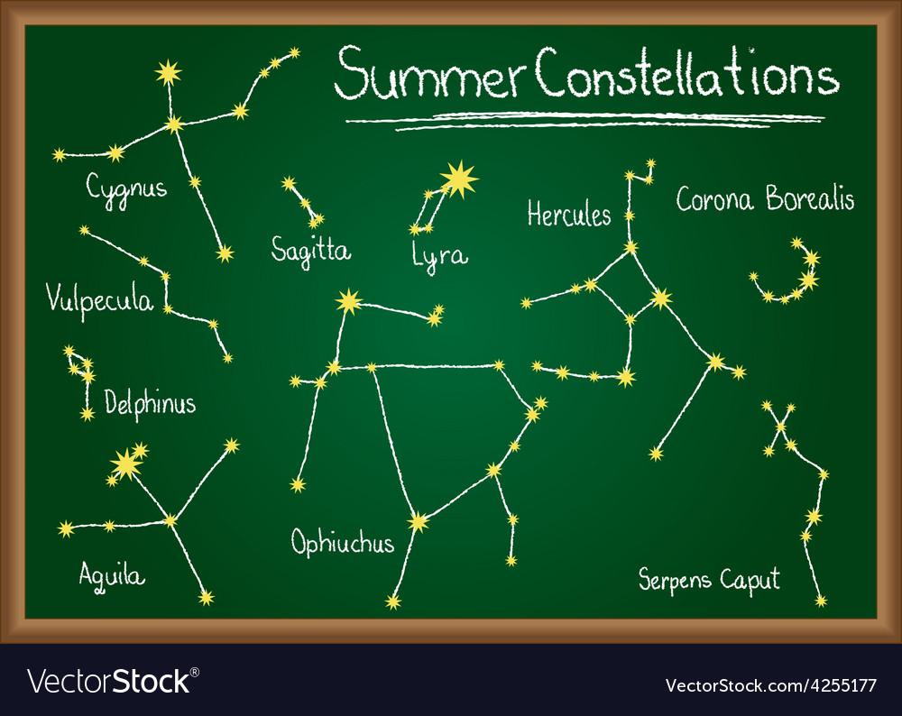 Summer constellations on chalkboard vector | Price: 1 Credit (USD $1)