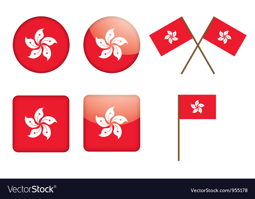 Badges with flag of hong kong vector | Price: 1 Credit (USD $1)