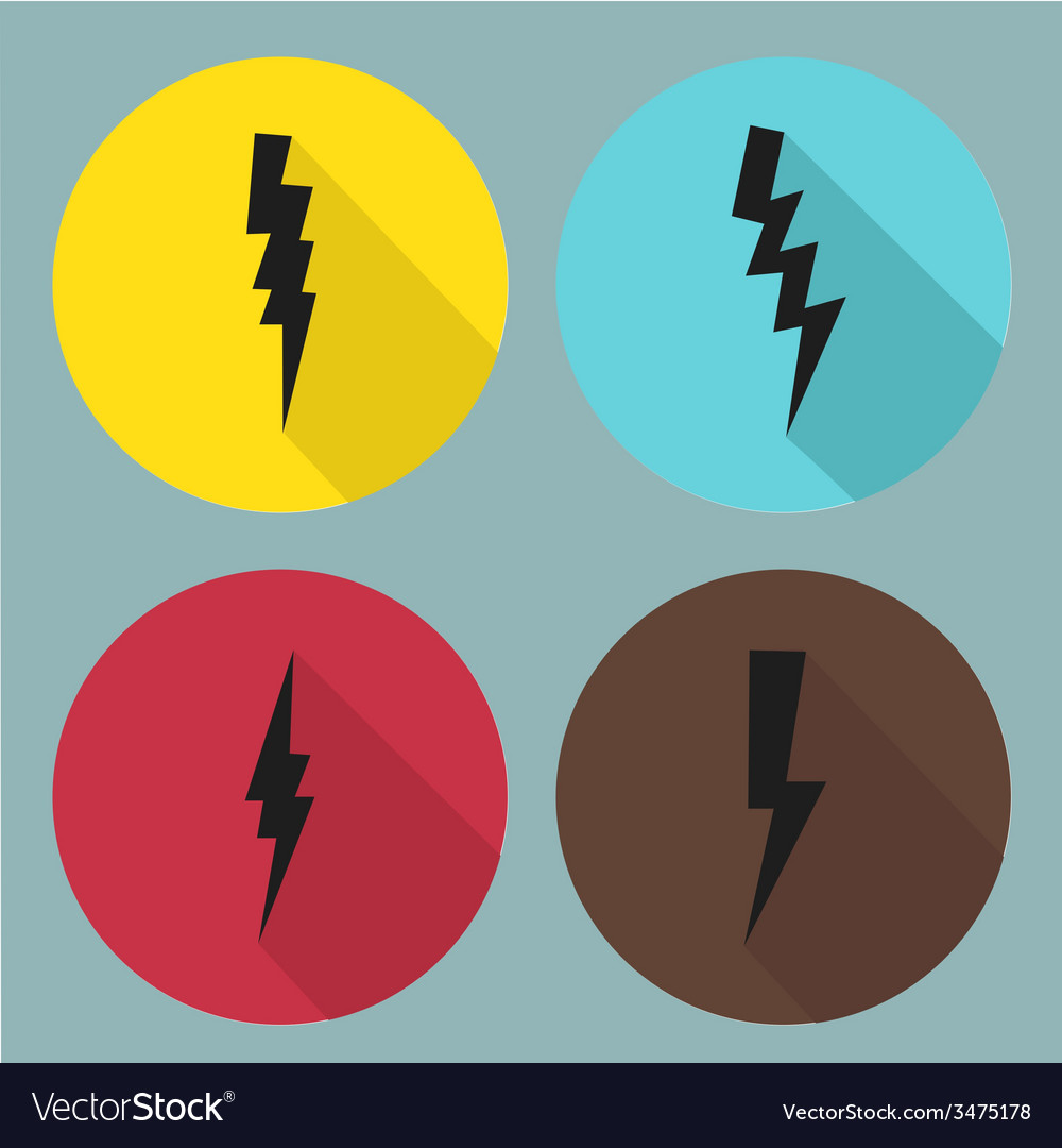 Flat lightning symbols set vector | Price: 1 Credit (USD $1)