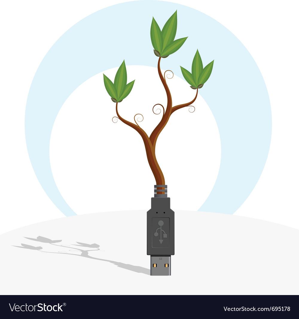 Green usb plant vector   Price: 1 Credit (USD $1)