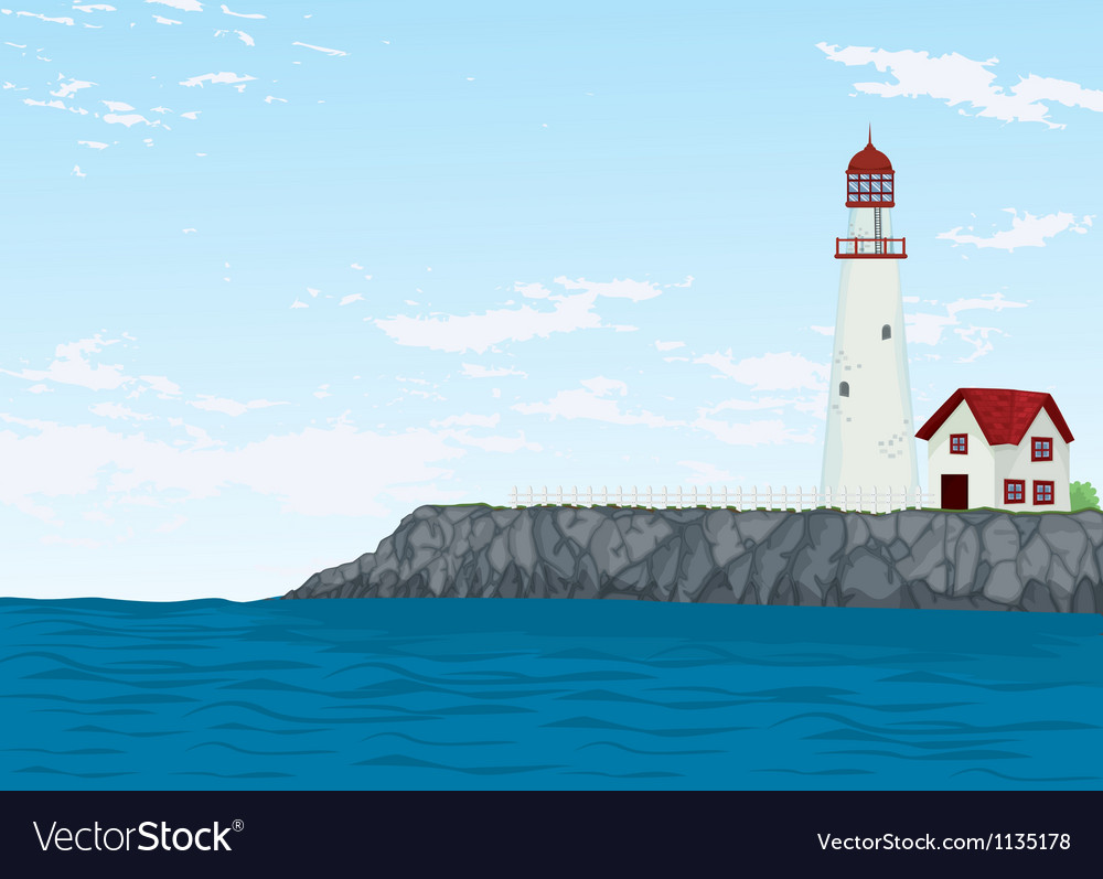 Light house and sea vector | Price: 1 Credit (USD $1)
