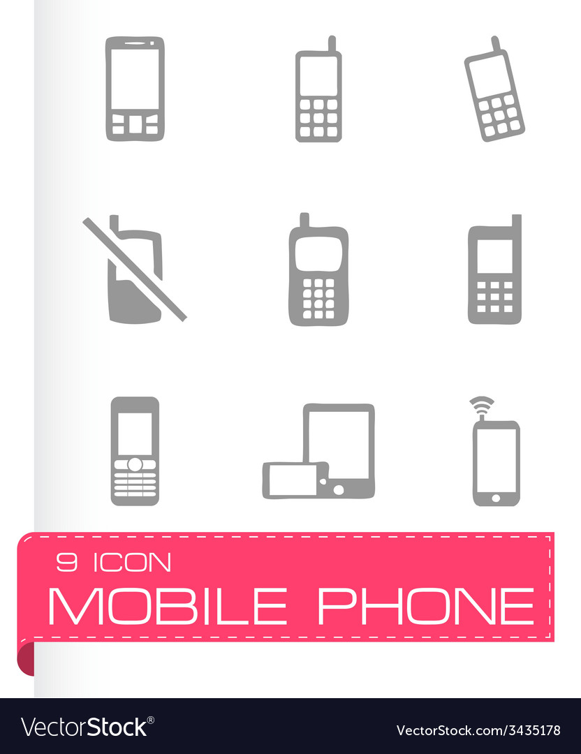 Mobile phone icons set vector | Price: 1 Credit (USD $1)