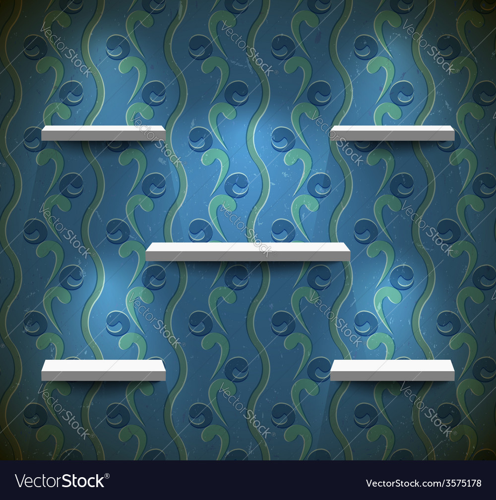 Shelves on the grungy blue wall vector | Price: 1 Credit (USD $1)